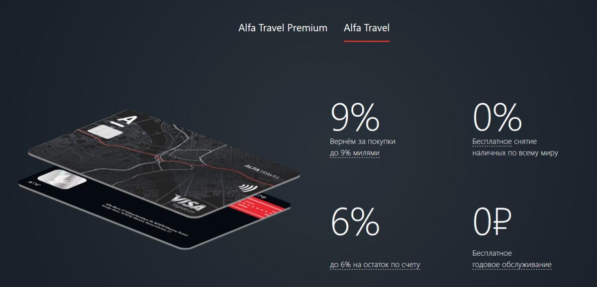 Alfa Travel дебетовая карта